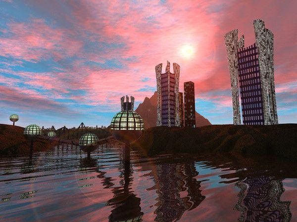 fond d ecran paysage futuriste